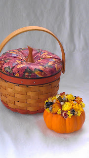 Longaberger basket with little pumpkin