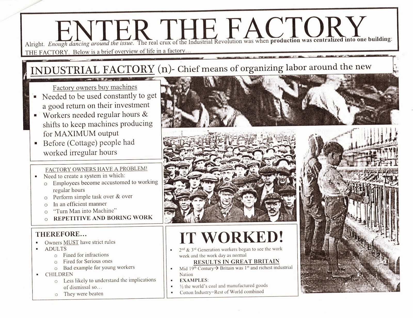 industrial revolution notes This is a 1-page set of notes on the industrial revolution (1800-1870) includes  both student's copy and teacher's copy this can be used with ap european.