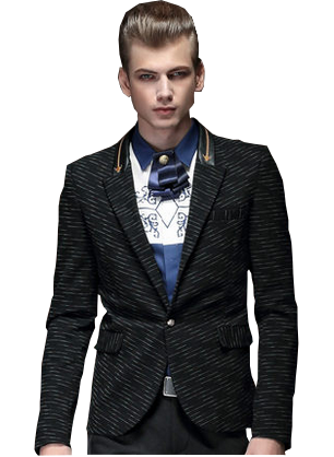 Dashed PinStripe Black Stunning Leather Collar Blazer