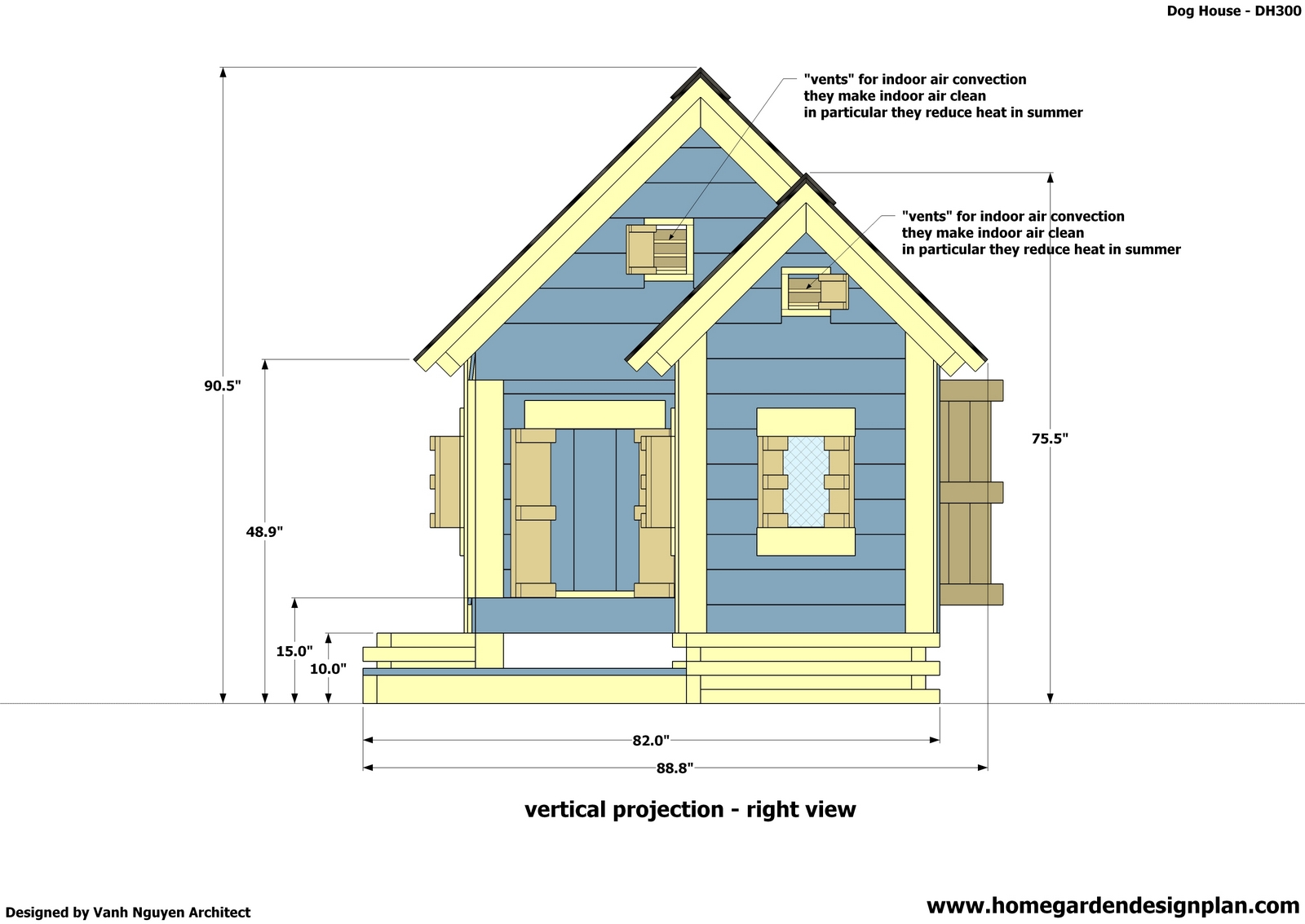 Home garden plans dh300 dog house plans free how to for Free house building plans