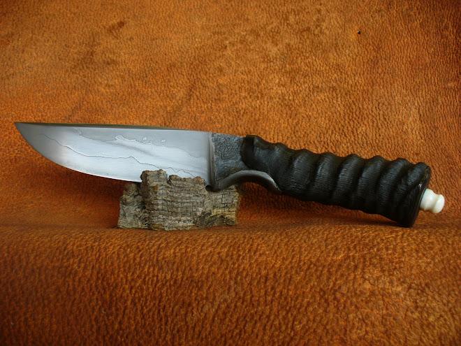 Acxero laminado 5 capas garganta forjada cuerno de springbok y marfil