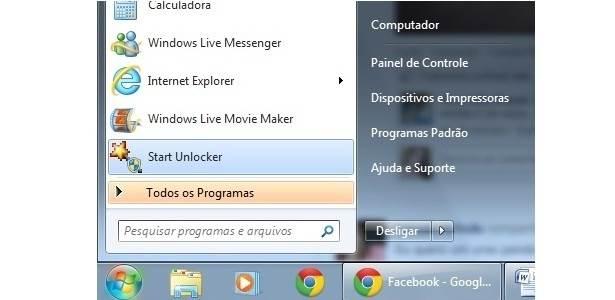 Abrindo o programa Unlocker