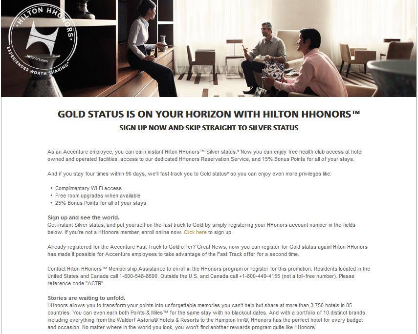 Hilton HHonors darmowy status Silver, a Gold po 4 pobytach