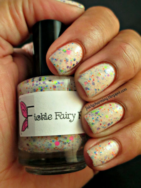 Fickle Fairy Potions, Popped Tarts, off white crelly, neon glitter, jelly sandwich, nails, swatch