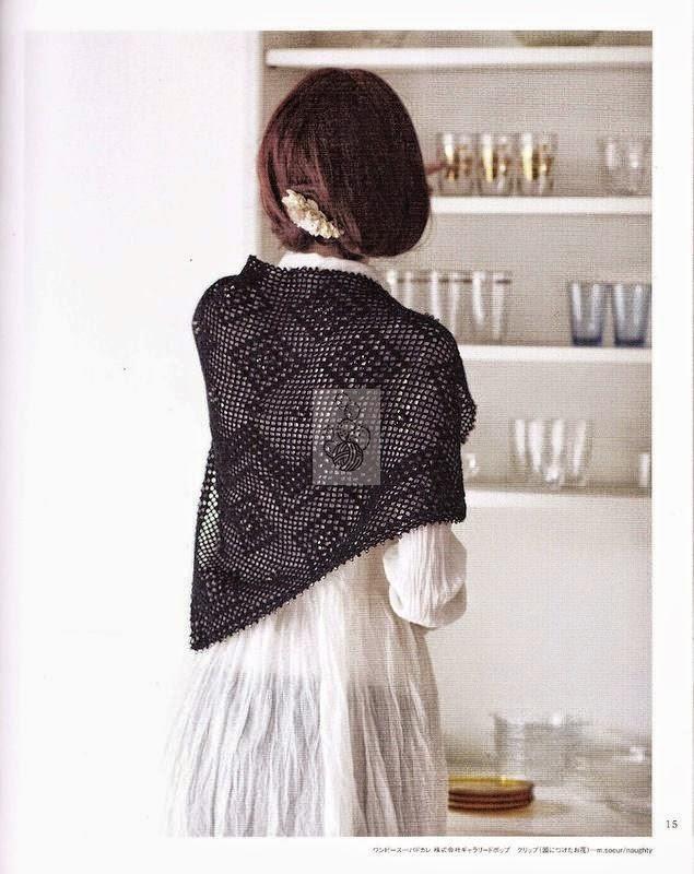 Patrón de chal triangular para tejer al crochet