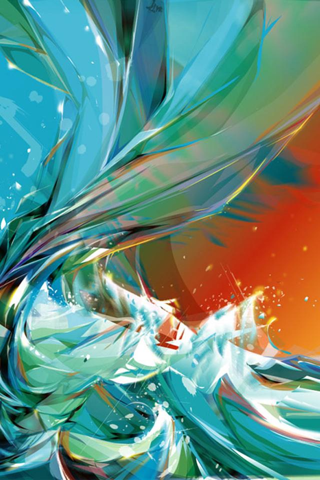 Blue Abstract Waves - iPhone 4 Wallpaper - Pocket Walls ...