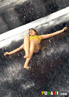 Nisha Kothari  wet and Enjoying in Rain in shorts sizzling Pictures