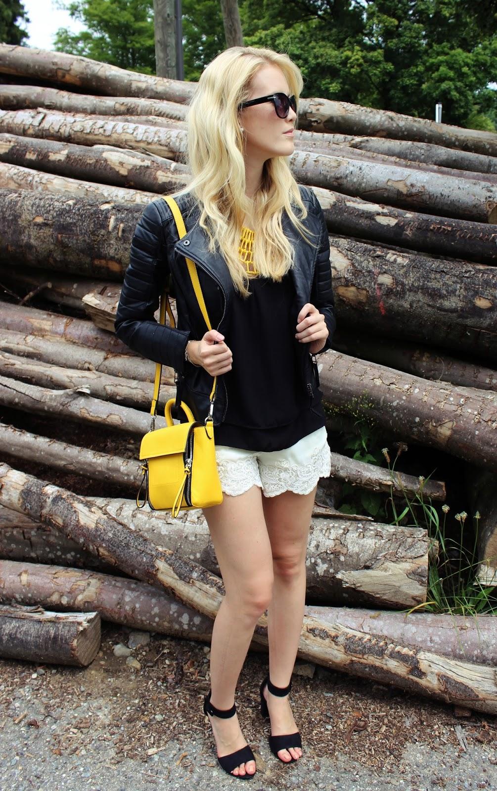 TheBlondeLion lace shorts crochet leatherjacket Lederjacke Mango Stradivarius ShopCharade