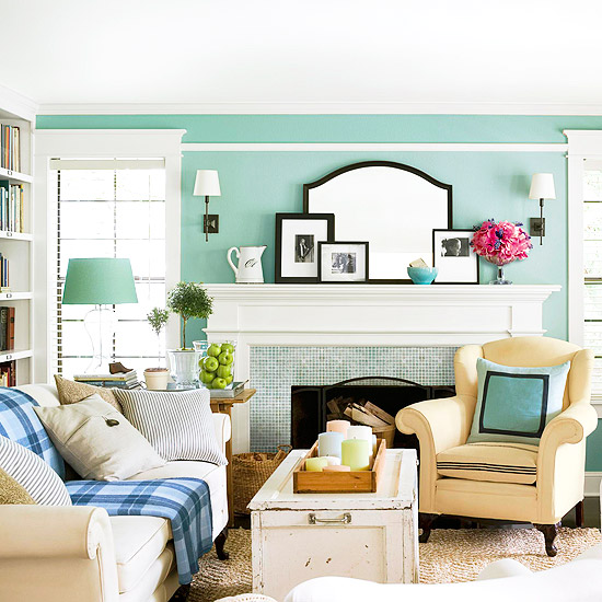 Seafoam Green Color Living Room