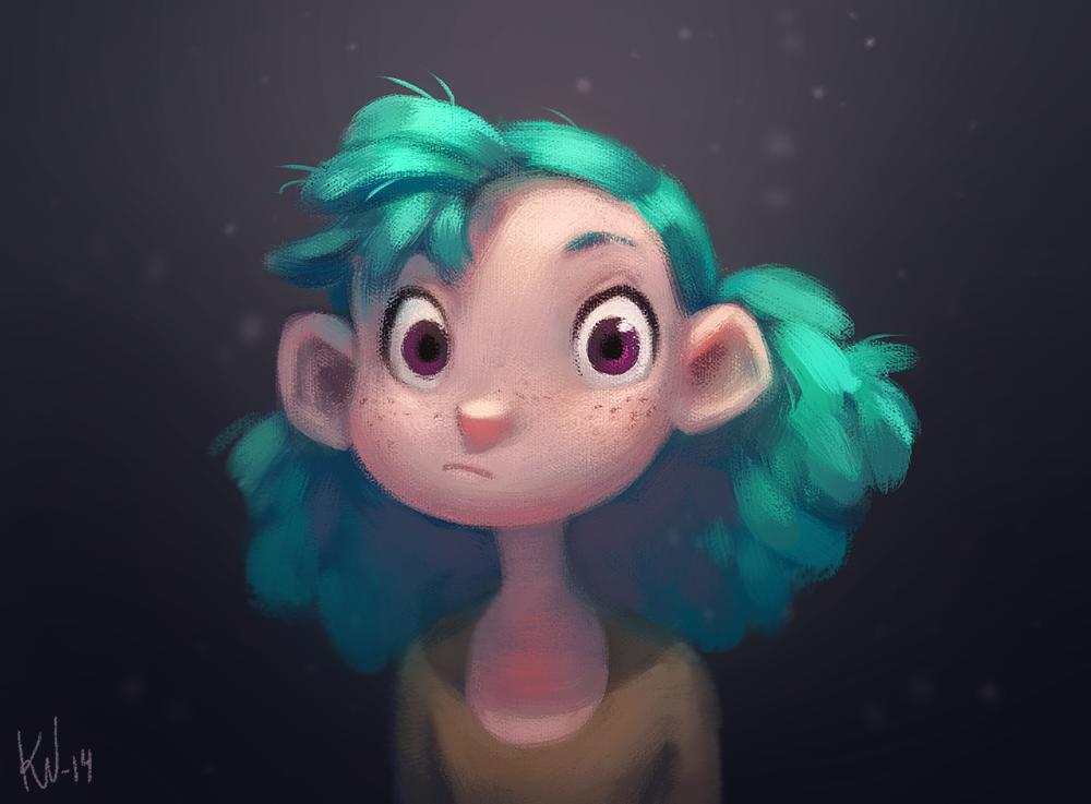#illustration #digital #painting #girl #turquoise #hair #cartoony #stylized #character #design