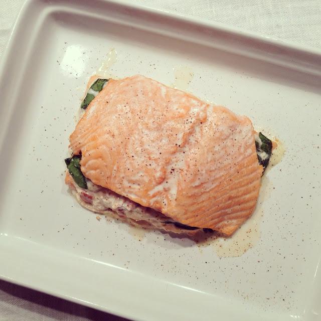 saumon farci ricotta épinards