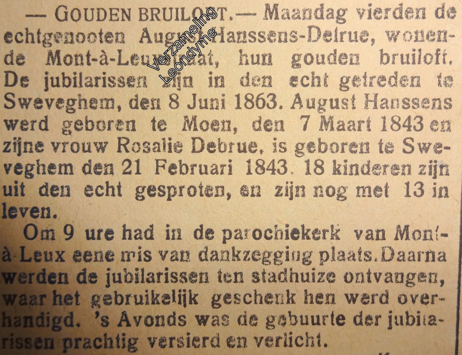 August-Hanssens-Rosalie Delrue uit Komen. Gazette van Brugge 06-08-1913.