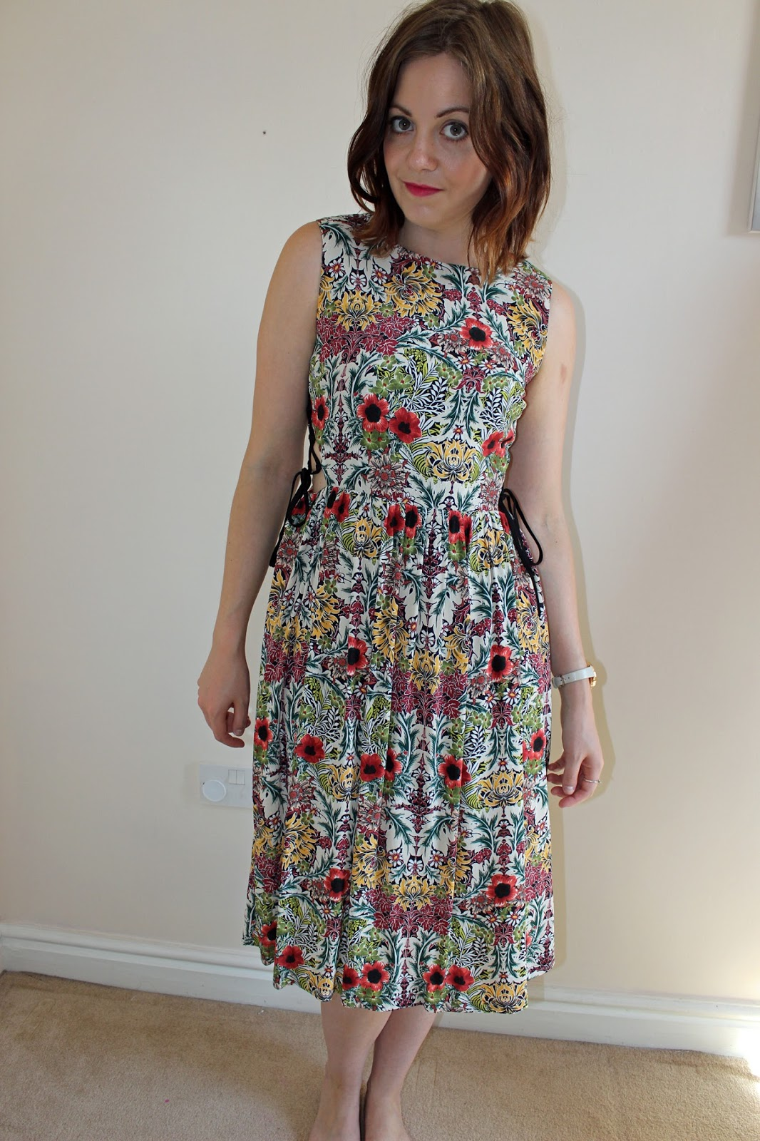 Topshop floral tie-side midi dress