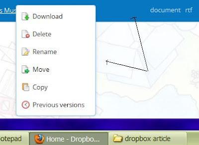 Δεξί κλικ στο επιλεγμένο αρχείο σε Dropbox στο web εμφανίζει επιλογές