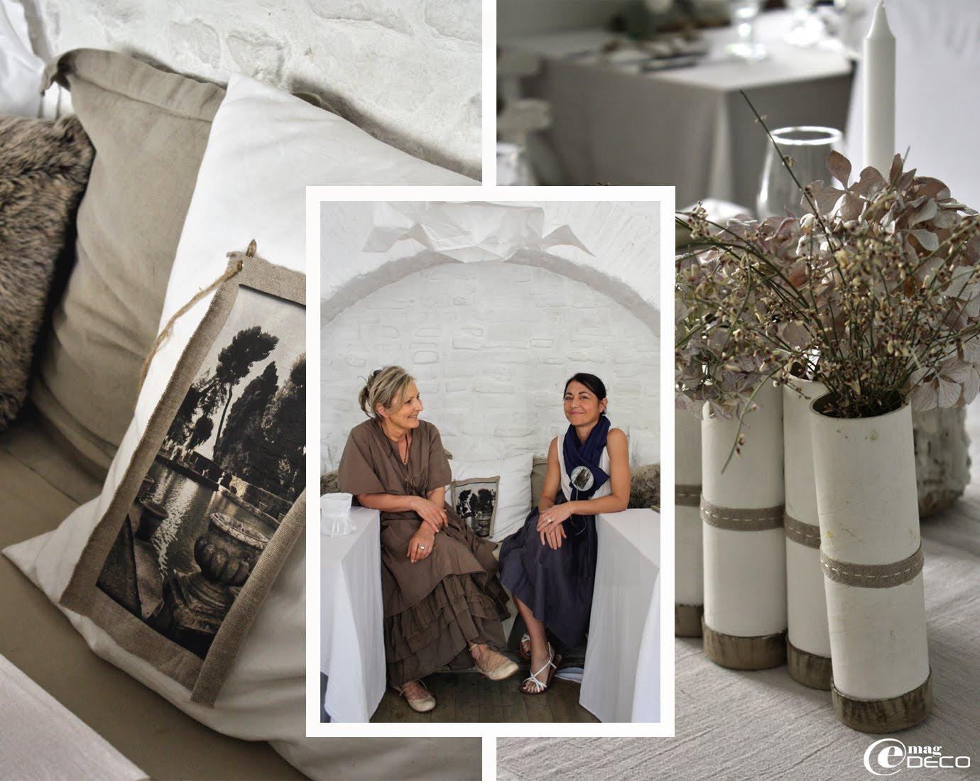 Coussin en coton blanc avec un transfert sur lin naturel d'une photographie de Dominique Roldan-Chauvet, création Béatrice Loncle et Geneviève Cazottes