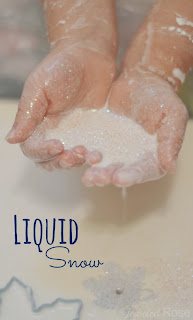 Icy Cold Liquid Snow Recipe for Winter Play- so fun for kids!  Make OOZING snowballs, make it rain snow, and more!