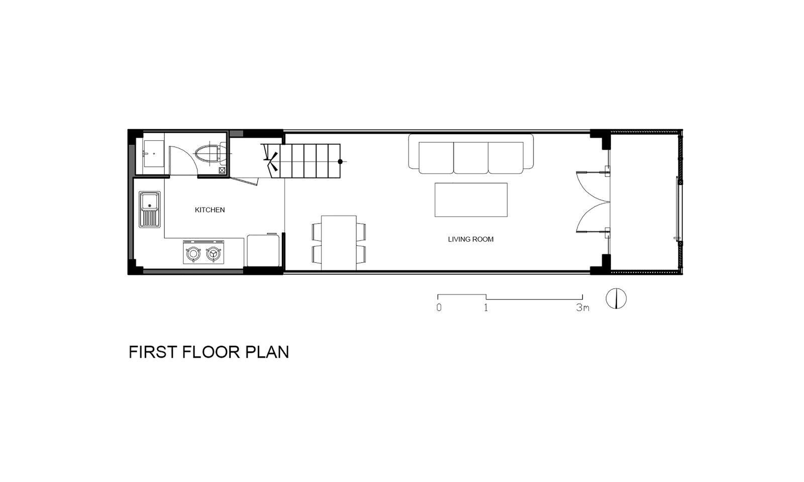 Denah Lantai 1 Rumah Sempit 3x10 Meter
