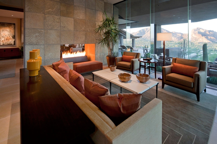 Living room and fireplace in Dream home in the desert, Paradise Valley