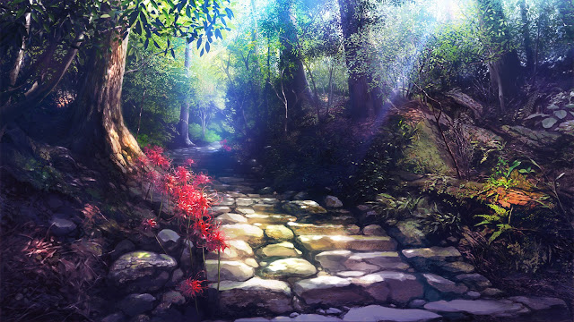 flowers forest original scenic stairs takei tree hd wallpaper desktop pc wallpaper a73
