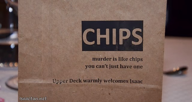 A personalized bag of chips to welcome us to Tanzini Upper Deck