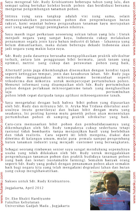 Komentar Dr. Eko Bhakti Hardiyanto , Pakar & peneliti yang mengembangkan sengon solomon dari UGM