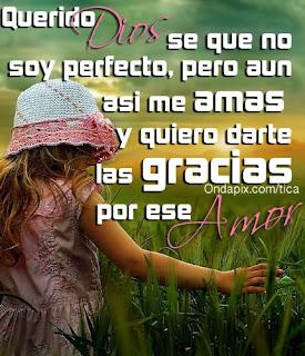 Querido Dios se que no soy perfecto, pero aun asi me amas y quiero darte las gracias por ese amor