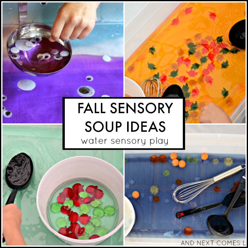 Fall water sensory soup ideas for toddlers and preschoolers from And Next Comes L