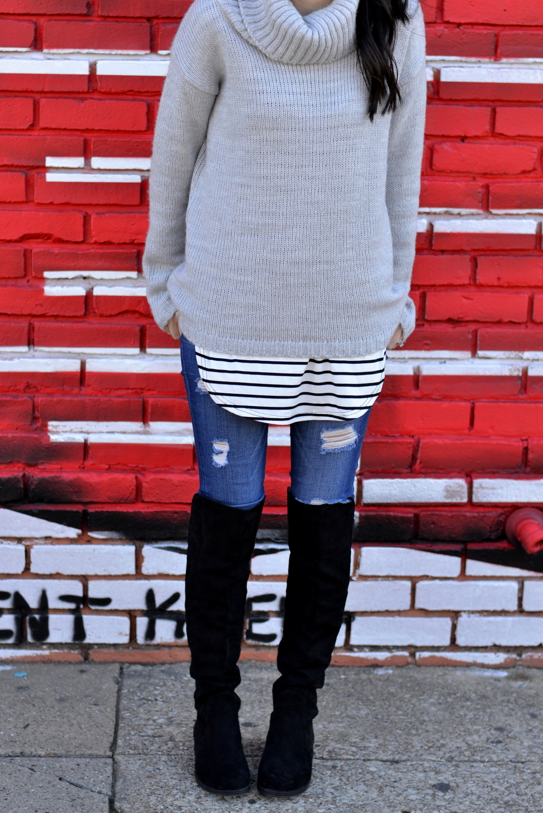 Fall Sweater_Stripes_OTK Boots