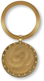Nautical Porthole Fingerprint Key Fob Memorial in 14k Gold