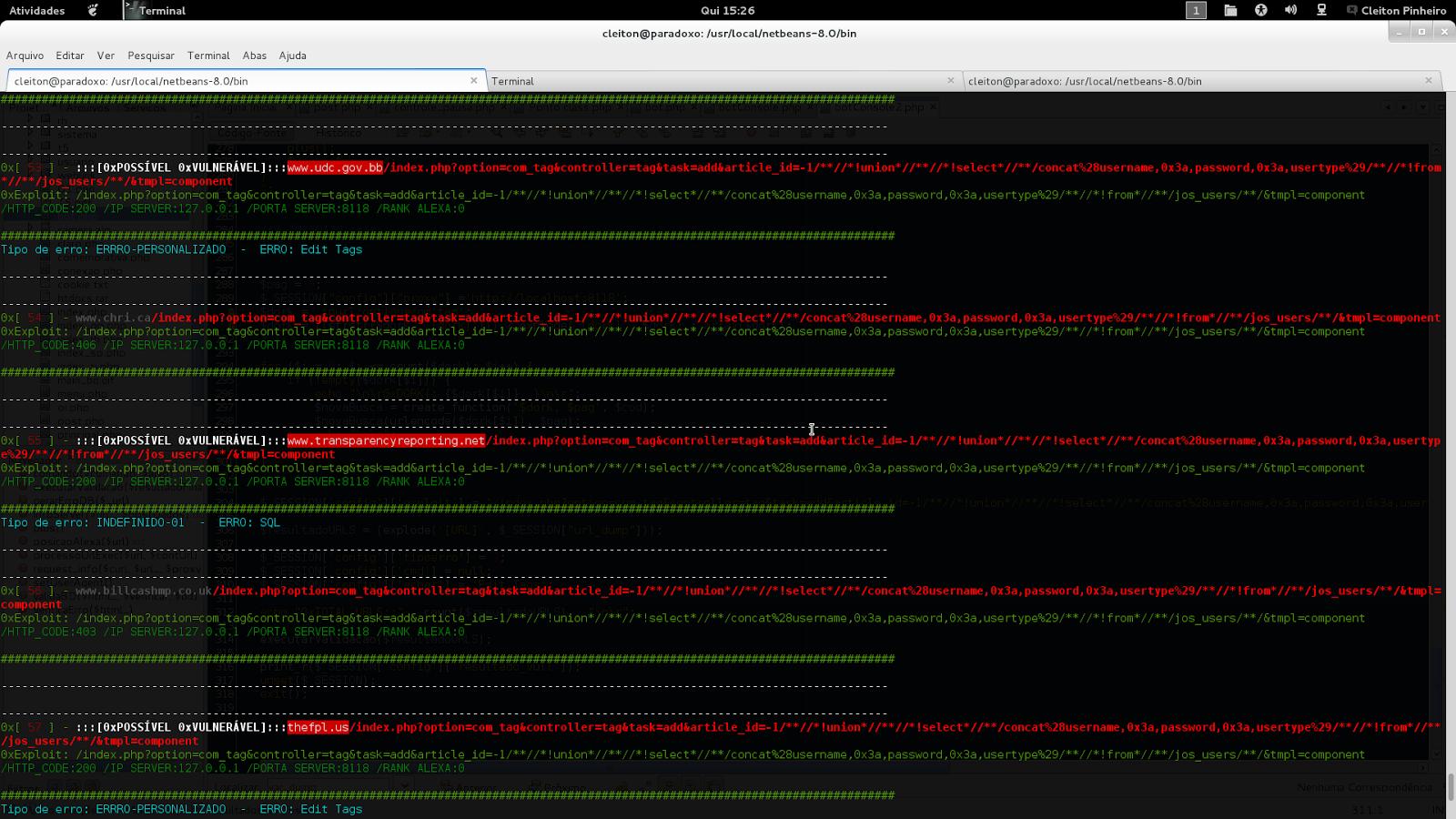 Usando scanner INURLBR: