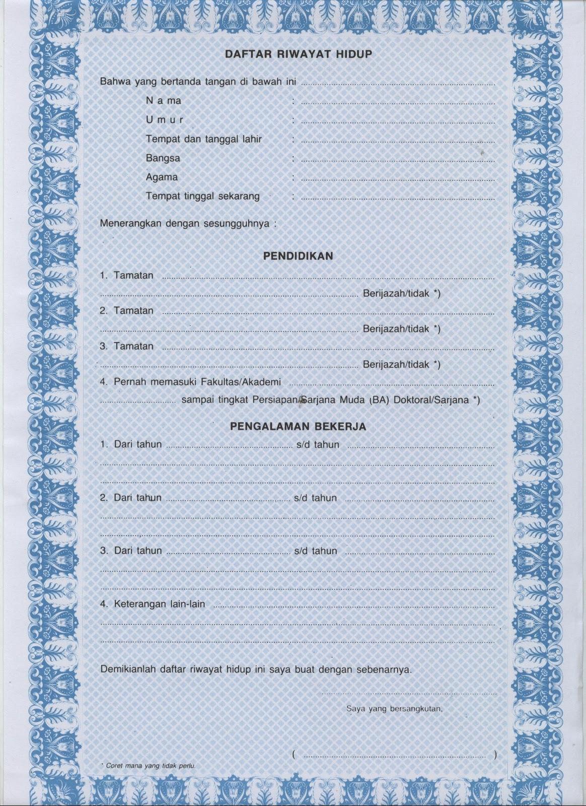 Contoh Daftar Riwayat Hidup (Curiculum Vitae atau CV)