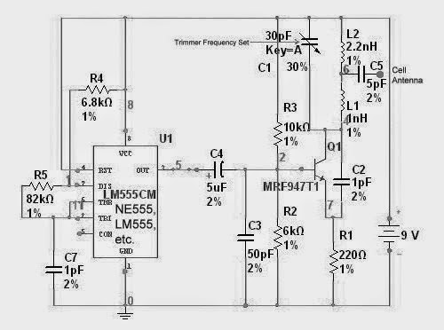simple gsm cell phone jammer circuit diagram using 555 ic