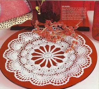 Carpeta circular tejida al crochet - con esquema