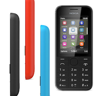 Nokia 208 (Single SIM) disponible con carcasa en color negro, azul, blanco, amarillo y rojo