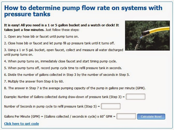 how to determine pump flow rate on systems with pressure tanks