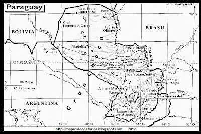 Mapa de PARAGUAY, Atlas, blanco y negro