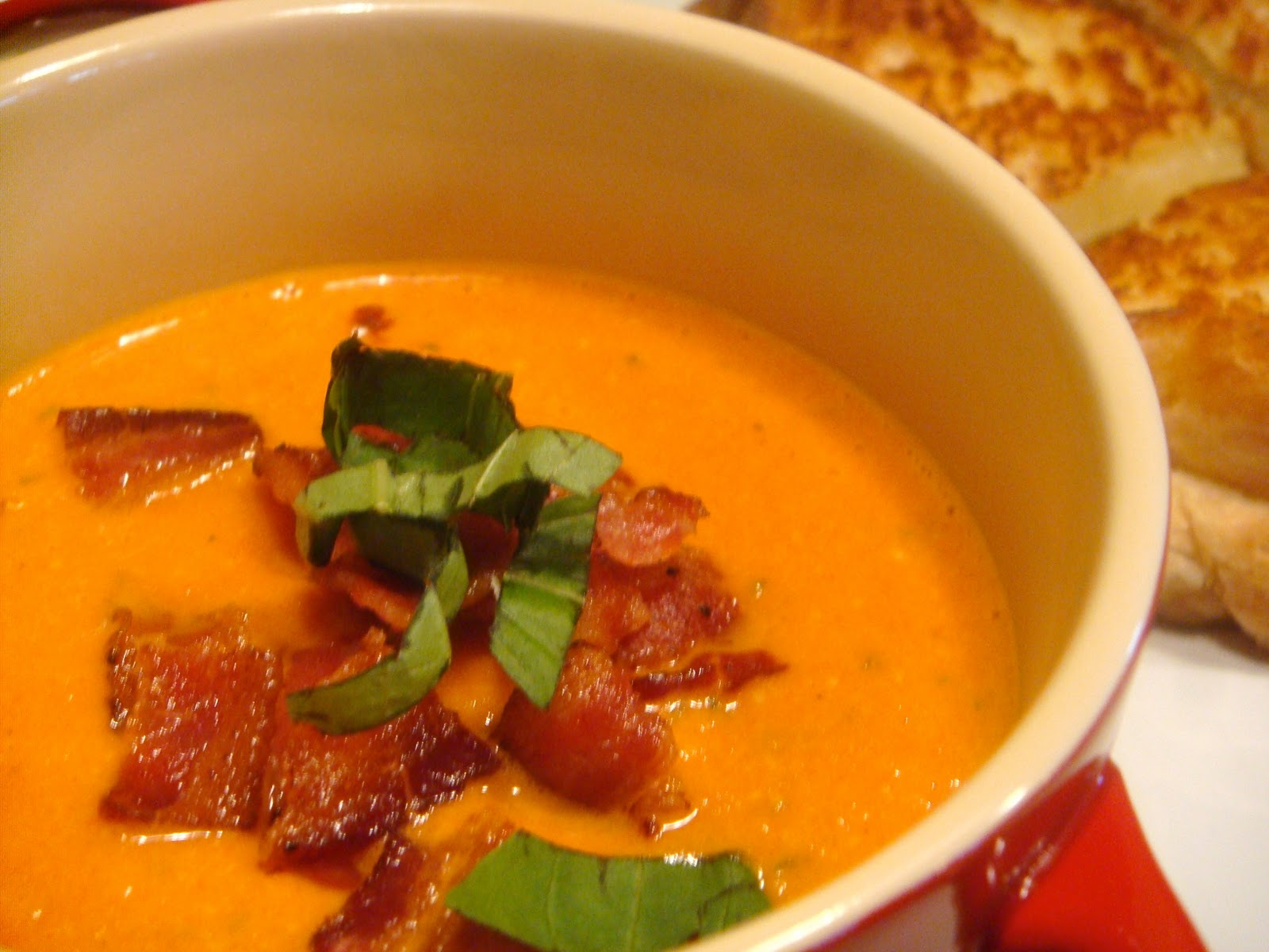 ... Creamy Tomato Soup With Grilled Cheddar, Basil, And Bacon Sandwiches