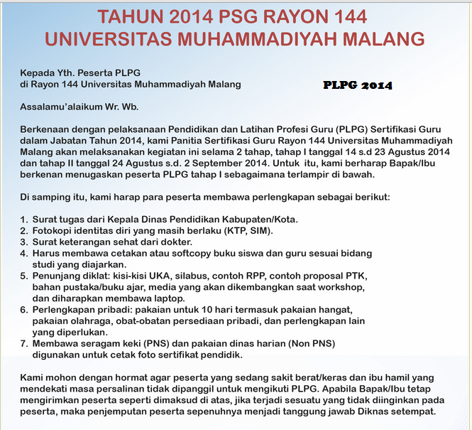Hasil Peserta PLPG Tahap 1 Rayon 144 UMM img