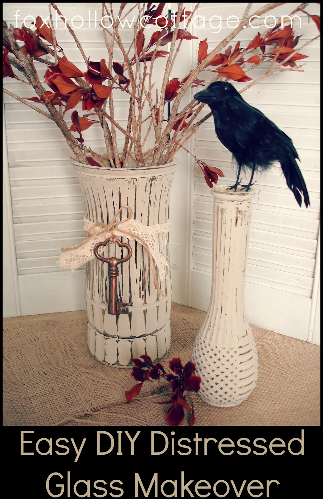 Easy diy fall craft painted distressed glass vase fox for Easy diy fall crafts