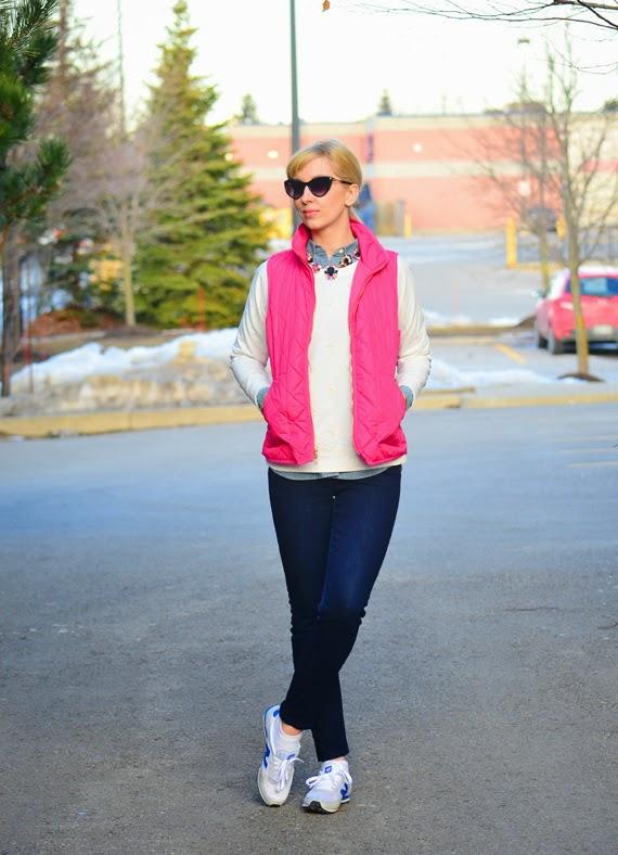 Style, ootd, pink vest, vest, preppy, preppy style, Old Navy, J. Crew style, j. Crew, asos, New Balance, Kate Spade, pink vest style, preppy vest style