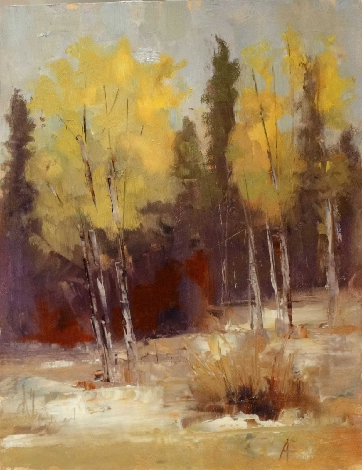 Aspen trees, Colorado landscape,painting of Aspen