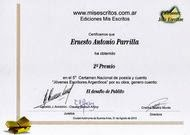 "2° Premio en ""Mis Escritos"""