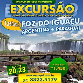 Excursão Foz do Iguaçu | Saindo de Campina Grande, João Pessoa e Recife