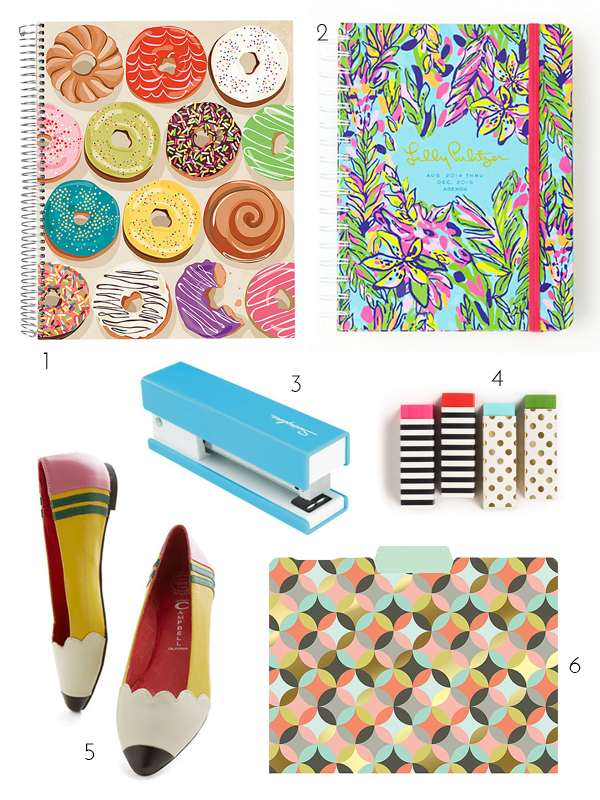 target stapler, colorful stapler, fun eraser, kate spade eraser, mod cloth, pencil shoes, paper source, donut notebook, notebook, lilly pulitzer planner, lilly pulitzer