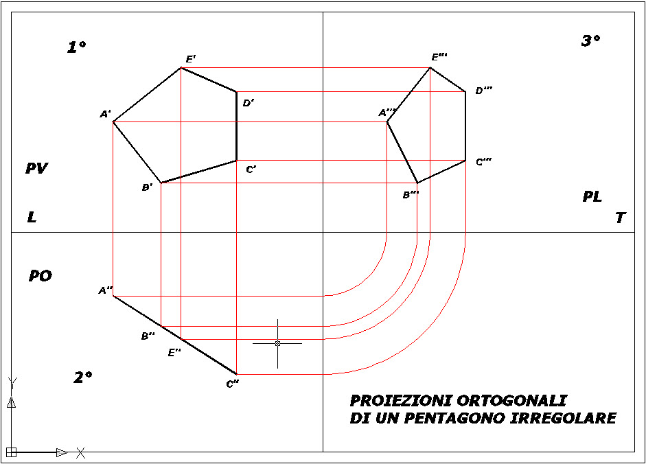 Proiezioni ortogonali di un pentagono irregolare