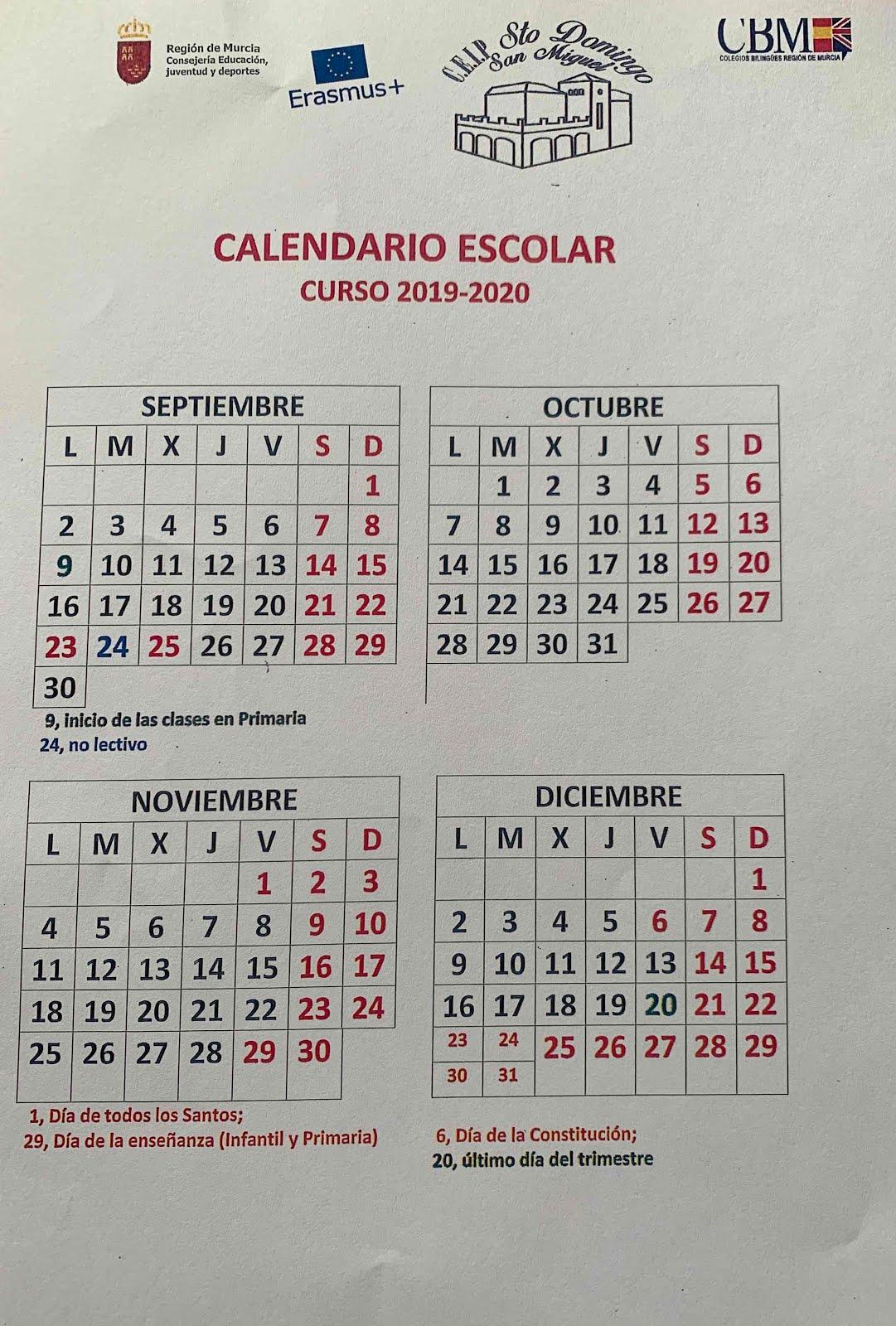 CALENDARIO 2019/20