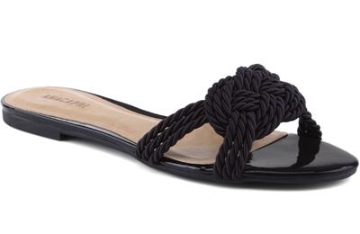 Anacapri coleção de verão rasteirinha nó de marinheiro preta