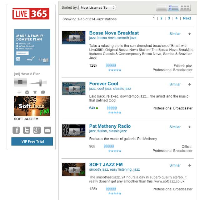 Live 365 音樂廣播播放版面