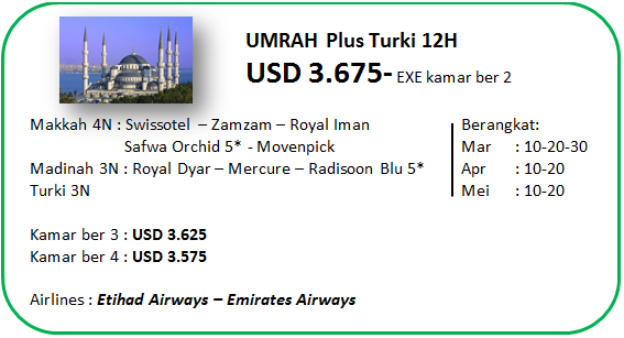 Paket Umroh Plus Executive Turki Bintang 5