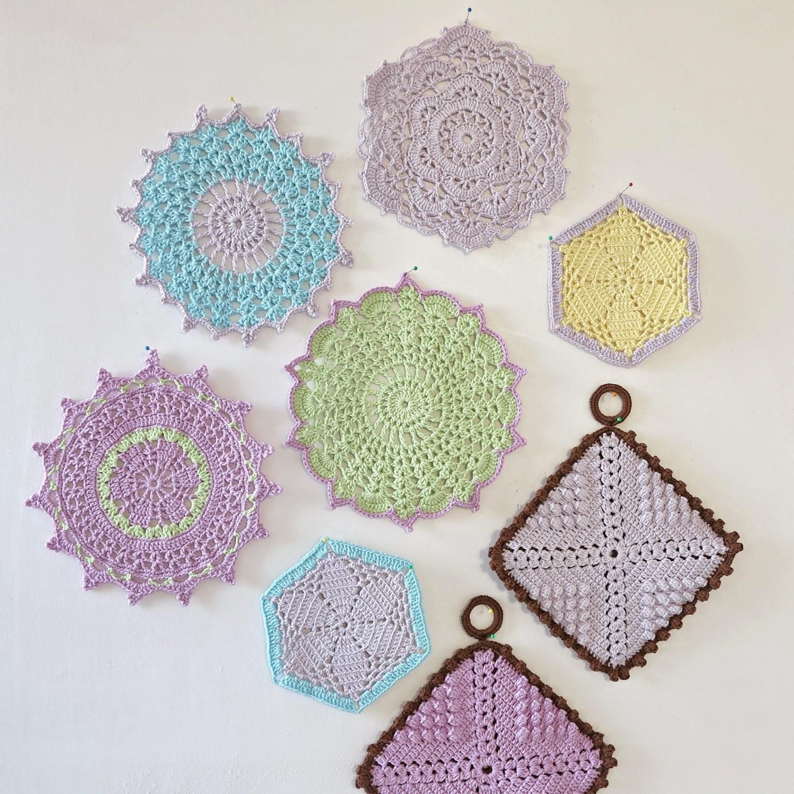 ByHaafner, crochet, potholder, doily, pastel, popcorn stitch